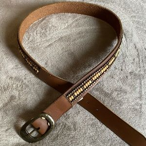 Lucky Brand brown leather belt with beading